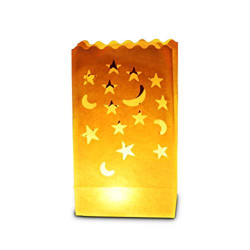 10 x sac de bougie lumière de thé en papier ignifuge décoration - motif lune et étoiles