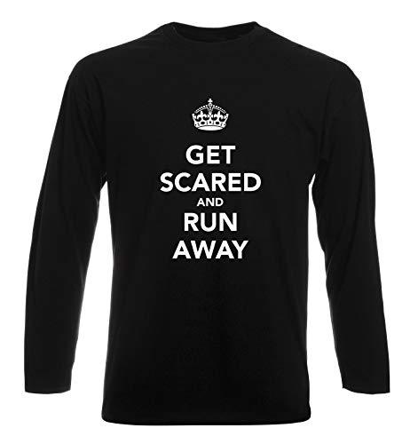 T-Shirt Langer Armel Mann Schwarz TKC3807 GET Scared and Run Away