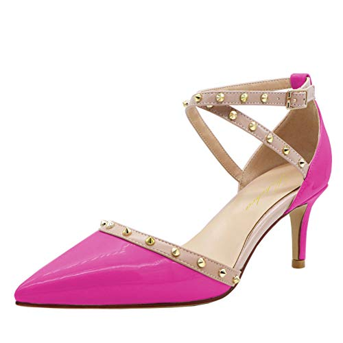 Lutalica W - Sandalias de tacón para mujer, diseño de gatito, color Rosa, talla 40 EU
