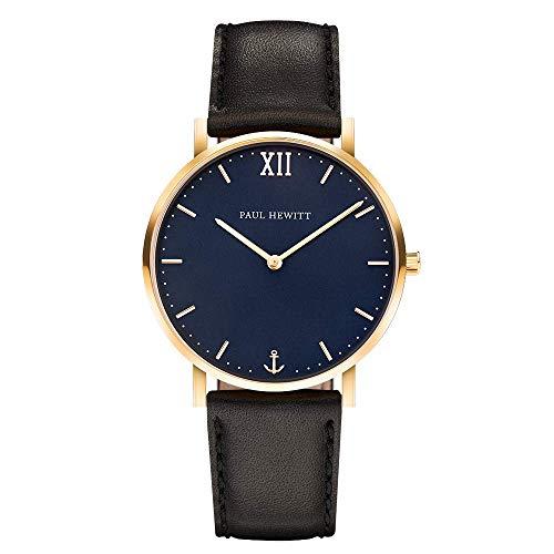PAUL HEWITT Armbanduhr Männer Edelstahl Sailor Line Blue Lagoon - Herren Uhr Lederarmband (Schwarz), Herren Armbanduhr (Gold), blaues Ziffernblatt