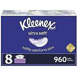 Kleenex Ultra Soft Facial Tissues, 8 Flat Boxes, 120 Tissues per Box (960 Total Tissues)