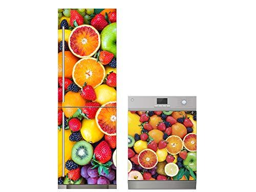 Oedim Pack Vinilo para Frigorífico + Vinilo para Lavavajillas Frutas | 70x185cm + 65x75cm | Adhesivo Resistente y Económico | Pegatina Adhesiva Decorativa de Diseño Elegante