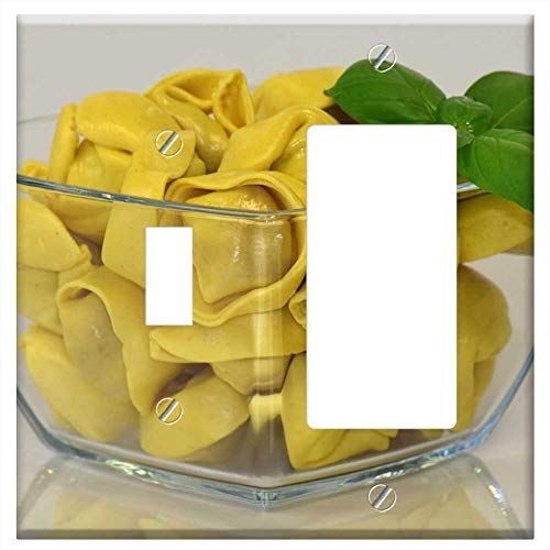 Toggle Rocker/GFCI Combination Wall Plate Cover - Noodles Tortellini Pasta Carbohydrates Lunch Ital