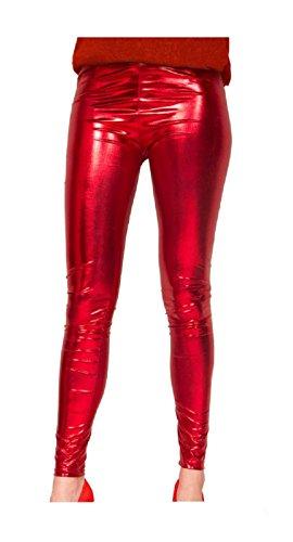 Folat 61721 -Legging Metallic, L-XL, rot