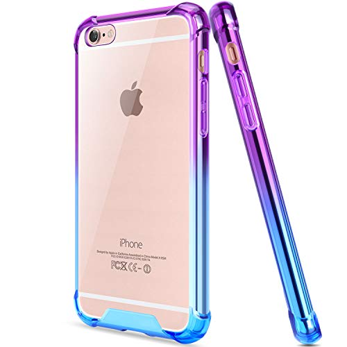 Salawat for iPhone 6 Case, Clear iPhone 6s Case Cute Anti Scratch Slim Phone Case Cover Reinforced TPU Bumper Shock Absorption Protective Case for iPhone 6/6s 4.7inch (Blue Purple)