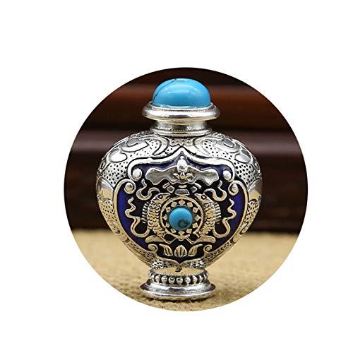 AueDsa Collar Plata Ley Hombre,Collares de Hombre Plata Botella de Perfume