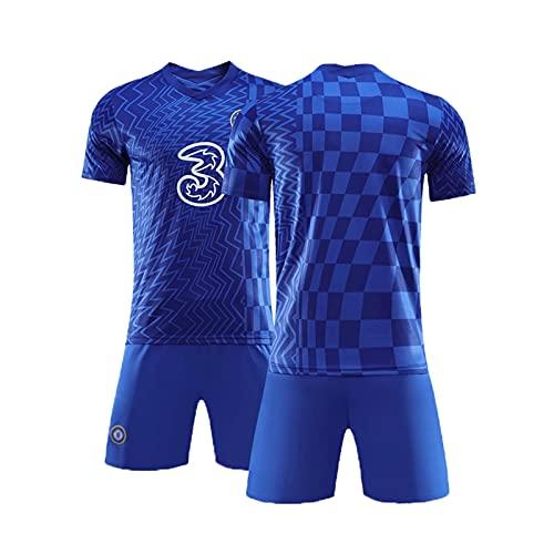 21-22homeホームサッカーユニフォームChelseaチェルシー、ユニセックス フットボールTシャツ+パンツ、クレストサッカージャージセット、男性サッカーギフト 140