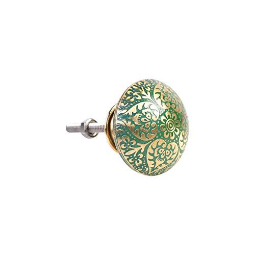 Set di 3 pomelli di lusso in ottone verde con design mandala, maniglie decorative per mobili, cassetti e pomelli in metallo, effetto martellato, si applica solo al pomello in metallo oro e rame,