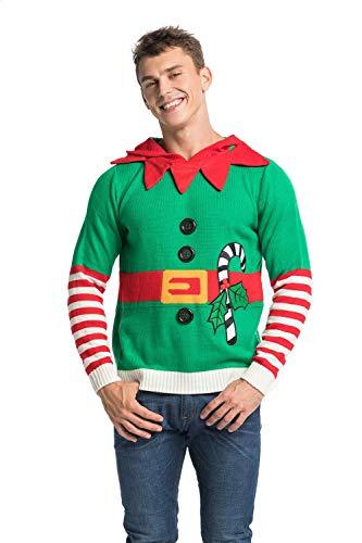 Herren Hässlicher Weihnachtspullover, lustiger gestrickter Weihnachts-Hoodie für Frauen mit Elfen-Ren und Weihnachtsbaum, festliches Unisexweihnachtspullover-Sweatshirt für Party