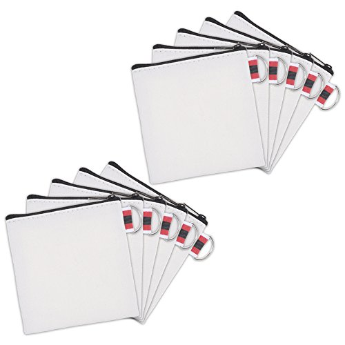 BCP 10pcs White Color Canvas Small Zipper Blank Coin Purses Pouches, DIY Craft Bags (Black Zipper)