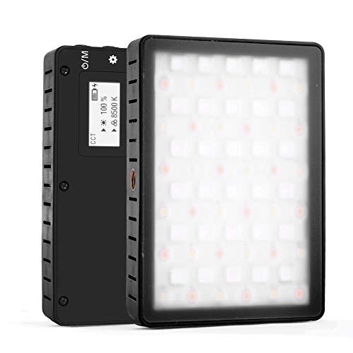 Andoer Luz LED Fotográfica Video 2800K-8500K Regulable, Modos Coloridos HSI y RGB y 10 Efectos de Luz Especiales, TLCT 97/CRI 95, Ultra Ligero de 112g Focos LED Para Soporte de Luz o Cámara DSLR