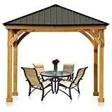 Aoodor Patio Solid Wooden Gazebo 10 x 10 ft. Hardtop Roof for Garden, Dark Green and Black