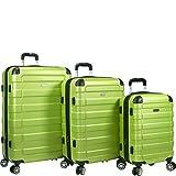 Dejuno Tahoma Lightweight 3-Piece Hardside Spinner Luggage Set, Green, One Size