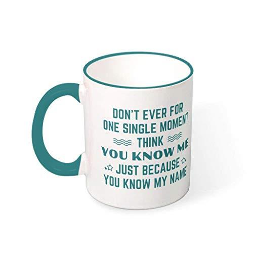 Wingard Leviosar Taza de café con texto en inglés 'Because You Know My Name', de cerámica, moderna, para regalo de cumpleaños, 330 ml