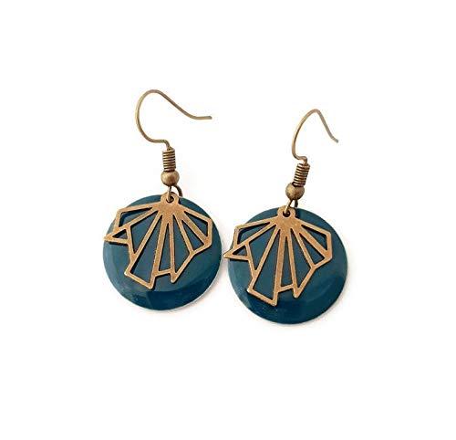 Boucle d'oreille bleu petrole petit rond sequin eventail bronze bohème chic géométrie ethnique moderne email pendante aztèque bijoux fantaisie original créateur femme