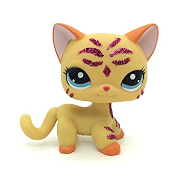 Small Pet Shop LPS Purple Glitter Sparkle Standing Ranch Cat Blue Eyes