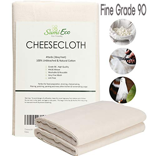 Sumi Eco Cheesecloth, Reusable Ultra Fine Strainer for Cooking, Grade 90, 36 Sq Feet | 100% Unbleached Cotton Fabric | Nut Milk Bag, Filter (Cheese Cloth (Grade 90-4Yards))
