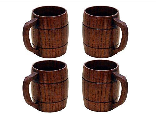 Yundxi - Taza de Cerveza, Hecha a Mano, Madera Natural, Regalo ecológico 4 Unidades.