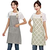 Renhe 2 Pieces Cooking Apron Waterproof Kitchen Bib with Pockets Cotton Linen Adjustable Drawing Crafting Aprons Gray and Light Green 2 Pieces