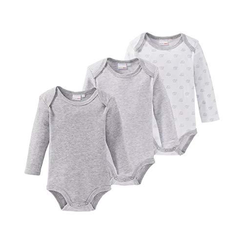 Bornino Le lot de 3 bodys à manches longues bébé, gris