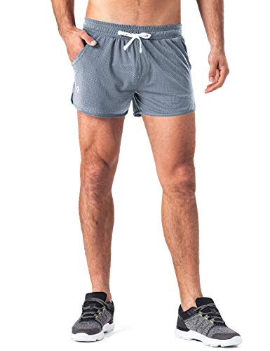 Naviskin Men's Lightweight Quick Dry Mesh Workout Running Shorts Side Pocket Grey Size L