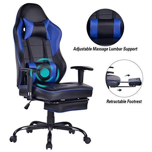 Blue Whale Massage Gaming Chair with Footrest, High Back Racing PC Computer Desk Office Chair Swivel...