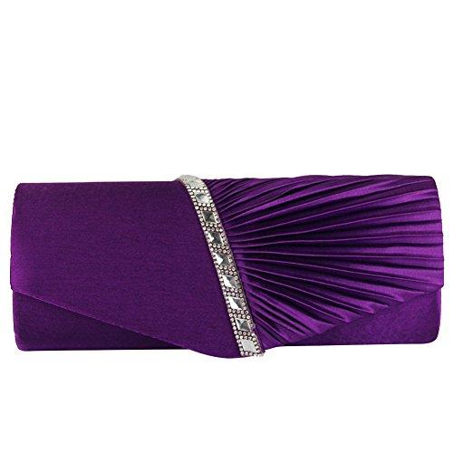 ele ELEOPTION Cartera de Mano de Satén para Mujer Diamante Bolso de Las Señoras de la Boda Nupcial Prom Bolso de Embrague Bolso del Partido de Noche Bolso de Cadena del Monedero (Púrpura)