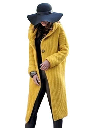 Tomwell Cappotti da Donna Inverno Maglioni Cardigan Manica Lunga Moda Giacca Cappotto Knitted Pullover Tops Giallo 50