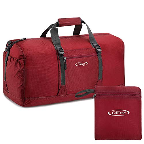 G4Free - Borsone da palestra, pieghevole, impermeabile, 45 l, leggero, da viaggio, per donne e uomini (rosso scuro)