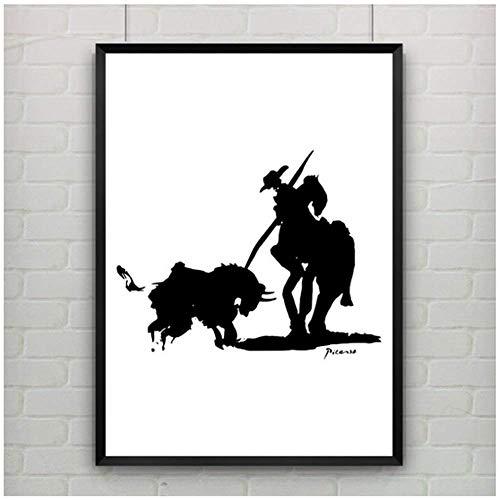 Cartel de la corrida de toros Impresiones en lienzo Pinturas de Pablo Picasso Cuadros artísticos de pared Decoración moderna para el hogar para sala de estar Personalizable-20X28 pulgadas Sin marco