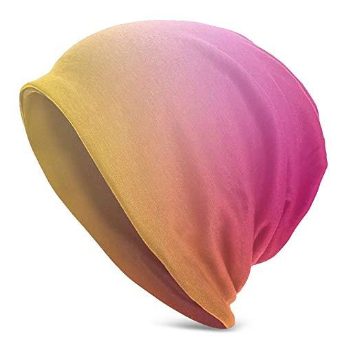 BGDFN Gorro de Punto Abstracto con Degradado de Color Rosa Amarillo, Gorros cálidos, Gorros elásticos con puños Suaves, Gorro Diario para Unisex