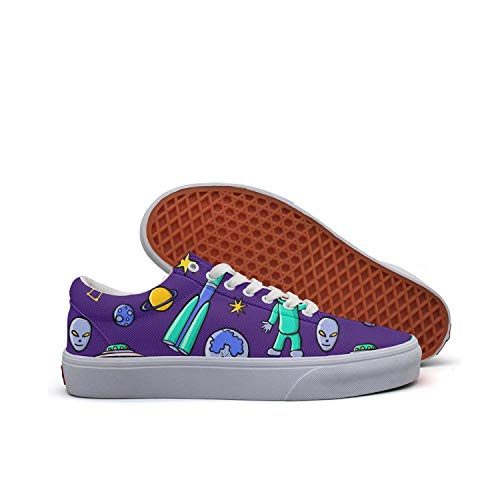 Sernfinjdr Casual lace-up Canvas Shoes for Women Doodle Space Moon Art Best Cycling Sneakers