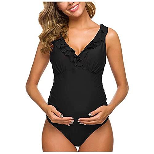 HNZZ Bañador de Natación Mujeres Maternidad Traje De Baño Embarazada Una Pieza Traje De Baño Sólido Bikinis Traje De Baño Ropa De Playa con Traje De Baño De Volantes (Color : Black, Size : L.)