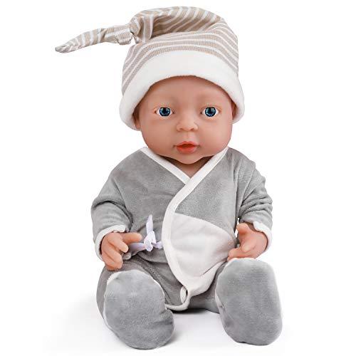 Vollence 40 cm Realistische Reborn Babypuppe, PVC-Frei, Echte Ganzkörper Silikon Baby Puppe, Handgefertigt aus lebensechtem Soft-Silikon Baby-Puppe mit Kleidung - Junge