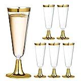 SIRUL 30er-Pack Gold-Plastik-Sektflöten, 5 OZ (150 ml) Plastik-Champagner-Gläser mit Goldrand, Gold-Einwegbecher in Premium-Qualität, ideal für Partys und Hochzeiten