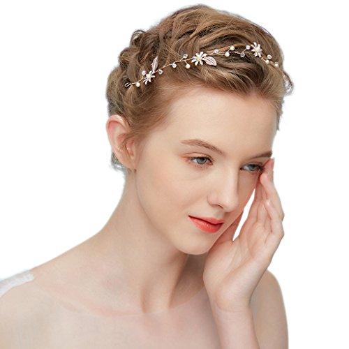 hopewey Blume Haarschmuck Hochzeit Vintage Braut Haar Kamm haarclips Blatt Haar Accessoires Braut Kopfschmuck Stirnbänder Strass HWMD201