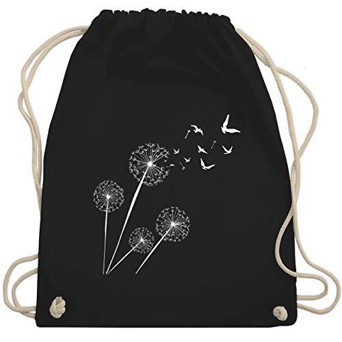 Shirtracer Statement - Pusteblume Vögel - Unisize - Schwarz - turnbeutel pusteblume - WM110 - Turnbeutel und Stoffbeutel aus Baumwolle