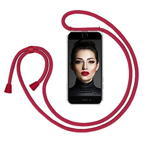"""Zhinkarts Collana Porta Cellulare Compatibile con Apple iPhone 7/8/SE (2020) - Display 4,7"""" - Custodia da Collo per Smartphone, Nastro - Cover con Cordoncino da Indossare - Rosso/Rosso"""