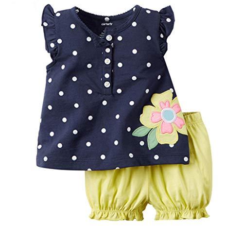 Ropa Bebe Niña Verano Fossen - 2PC/Conjuntos - Camiseta Sin Mangas con Estampado De Mariposa Y Lunares + Pantalones Cortos - para Recien Nacido 6 Meses a 2 año