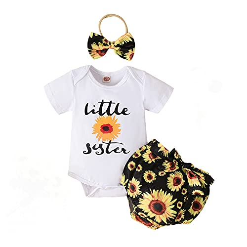 Honykids 3PCS Newborn Baby Girl Romper Jumpsuit Bodysuit +Pants Shorts+Headband Outfit Set (3-6 Months, Lil-Sunflower)
