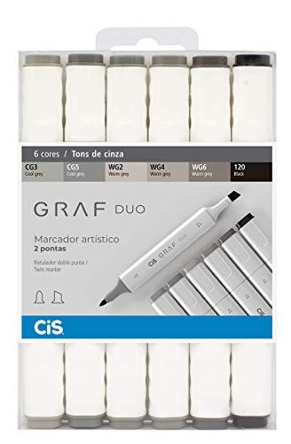 Marcador Artístico 2 Pontas, CiS, Graf Duo, 59.7700, 6 Cores, Tons Cinza