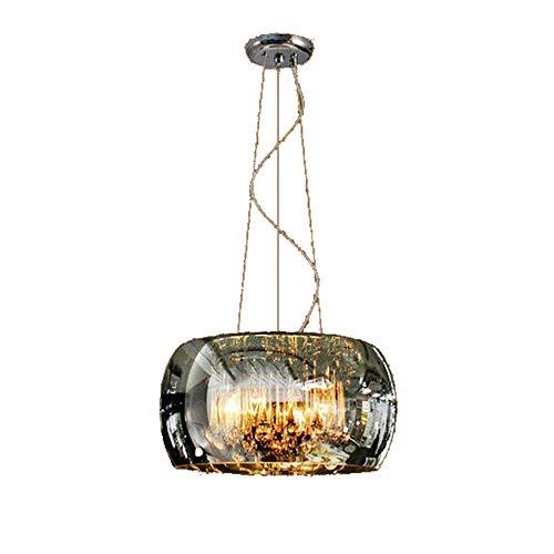 Kristallen hanglampen, moderne ronde eetkamerlamp, eettafel, glas, lampenkap, hanger, lamp, restaurant, in hoogte verstelbaar, metaal, hanglampen, balkon, keuken, eiland, 5 x E14, hanglamp, Ø 45 cm