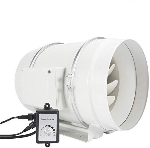 Regelbar Abluftventilator 200mm - HG POWER Stark Inline-Lüfter mit Ventilator Drehzahlregler Energiesparend Rohrventilator Leise Kanalventilator Badlüfter Rohrlüfter für Küchen Badezimmer Garage etc