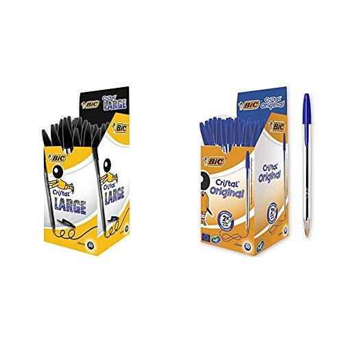 BIC Cristal Large bolígrafos Punta Gruesa (1,6 mm) - Negro, Caja de 50 unidades + Original Bolígrafos Punta Media (1,0 mm) - Azul, Caja de 50 Unidades, Perfecto para Oficinas