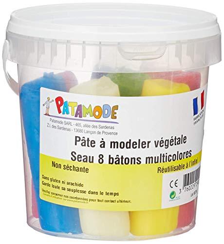PATAMODE – Pâte à Modeler Végétale Non Séchante – Réutilisable à l'Infini – Naturel et Écologique – sans Conservateurs ni Allergènes, ni Dioxyde de Titane – Fabriqué en France – 8 Bâtons Multicolores