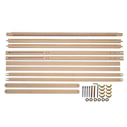 HEEPDD Webstuhl, Einstellbare Holzwebmaschine mit Ständer Extra Große Massivholzdecke Schal Strickrahmen DIY Tapisserie Wolle Strickwerkzeug (35 x 34,6 x 1,2 in)