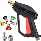 Toolly Pressure Washer Gun Tips Kit 4000 PSI 2020 Upgrade Version Car Power Washer Gun with M22-14 mm and 3/8' Quick Inlet Connector for Car High Pressure Power Washer