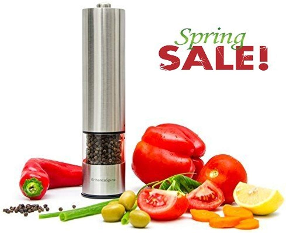 Best Pepper Grinder Or Salt Grinder Mill Premium Stainless Steel One Handed Automatic Battery Operated Spice Shaker Adjustable With LED Light At Bottom