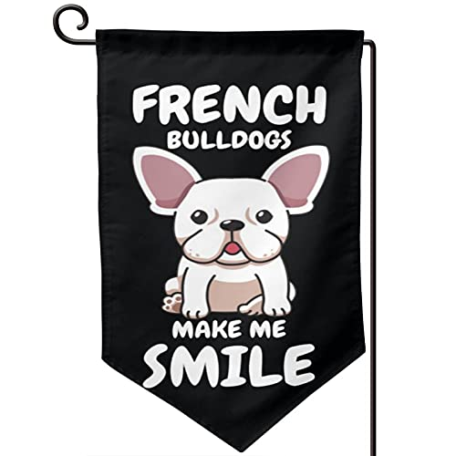 Voglawear Funny French Bulldog Lovers Gift Dog Frenchie Garden Flag - Double Sided Banners for Outdoor Indoor Home Garden Yard Decorations