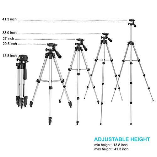 Tygot Adjustable Aluminium Alloy Tripod Stand Holder for Mobile Phones & Camera, 360 mm -1050 mm, 1/4 inch Screw + Mobile Holder Bracket